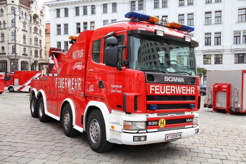 Fire truck. VIENNA - SEPTEMBER 8: Fire fighting vehicles on September 8, 2011 in Vienna. On September 9-11, 2011 Feuerwehrfest (Fire Fighters Festival) took royalty free stock images