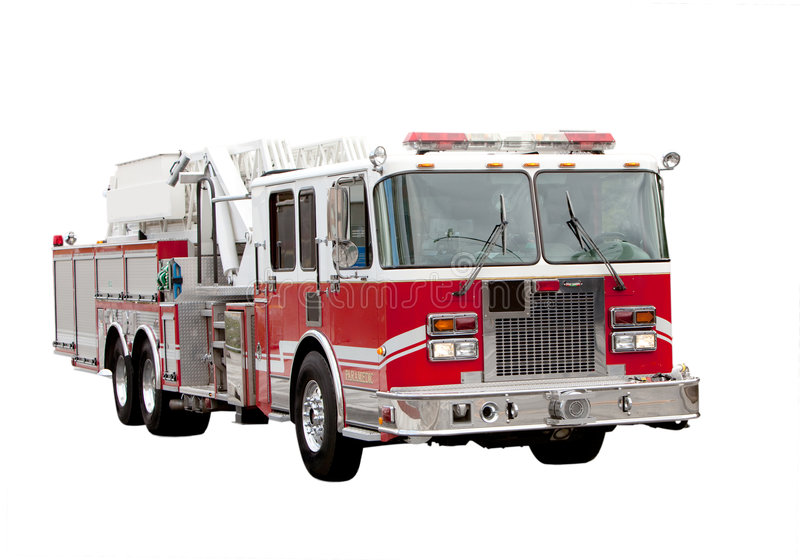 Fire Truck. A red fire truck isolated on white stock photos