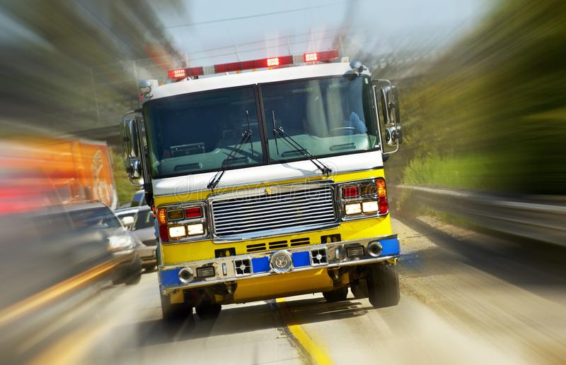 Fire Truck in Action. California, USA. Fire Department at Work. Flashing Lights of Fire Truck. Transportation Collection royalty free stock photography