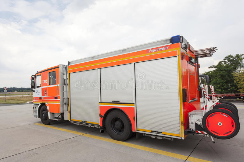 Fire Truck at the Airport. FRANKFURT, GERMANY - JULY 24, 2016: Modern fire truck at the airport Fire Department in Frankfurt Main International Airport stock photography