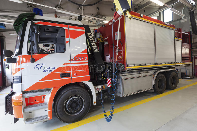 Fire Truck at the Airport. FRANKFURT, GERMANY - JULY 24, 2016: Modern fire trucks at the airport Fire Department in Frankfurt Main International Airport royalty free stock photos