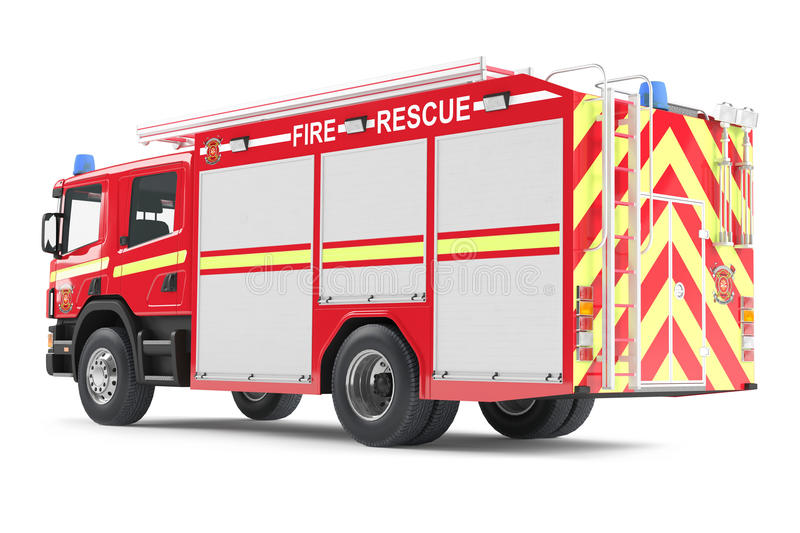 Fire Truck Back Isolated Royalty Free Stock Photos