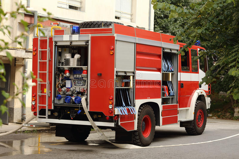 Fire truck. Big red fire truck in action royalty free stock photos