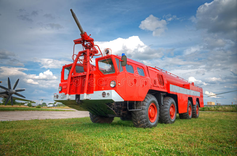 Fire truck. Big red fire truck against the sky royalty free stock photo