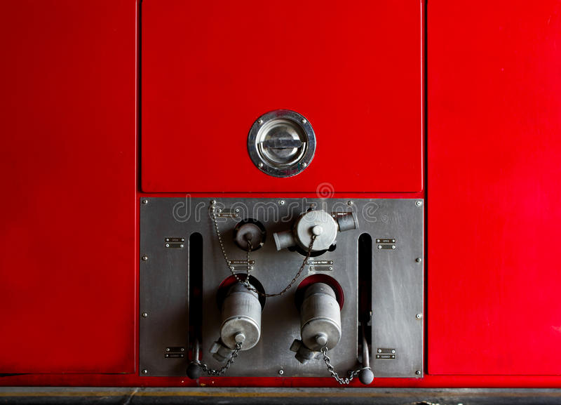 Fire truck car firefighter rescue. Valve main control Fire truck car firefighter rescue stock images