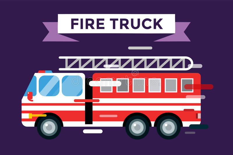 Fire truck car isolated vector cartoon silhouette royalty free illustration