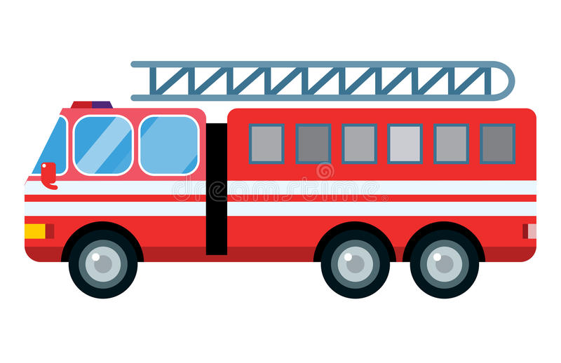 Fire truck car vector illustration isolated cartoon silhouette fast emergency service transport vehicle transportation vector illustration