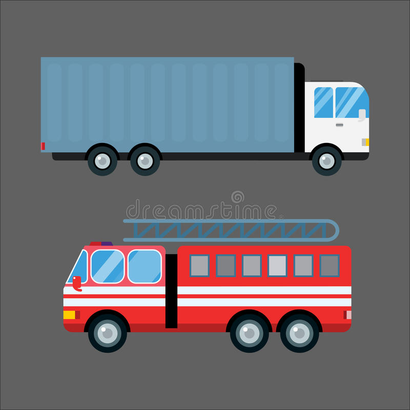 Fire truck car vector illustration isolated cartoon silhouette fast emergency transport vehicle transportation alarm stock illustration