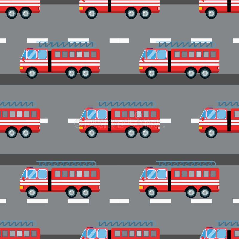 Fire truck car vector illustration seamless pattern cartoon fast emergency service transportation royalty free illustration