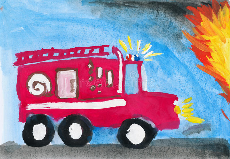 Fire Truck. Child S Drawing. Stock Image