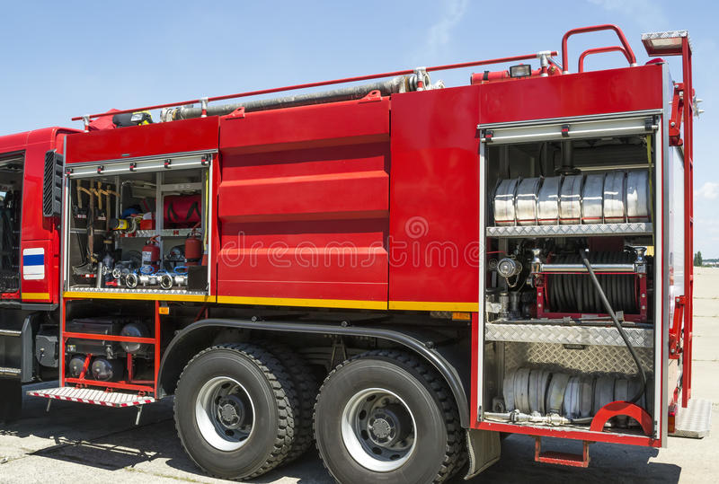Fire truck. Equipment used in firefighting installed on a modern fire truck stock photography