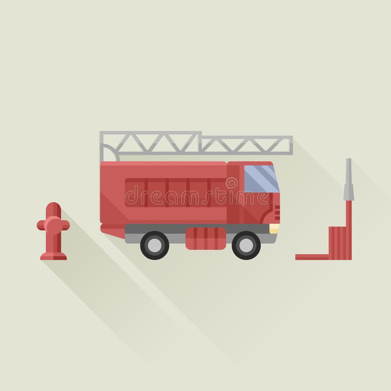 Fire truck with fire hose and fire hydrant vector icon flat style. Illustration vector illustration