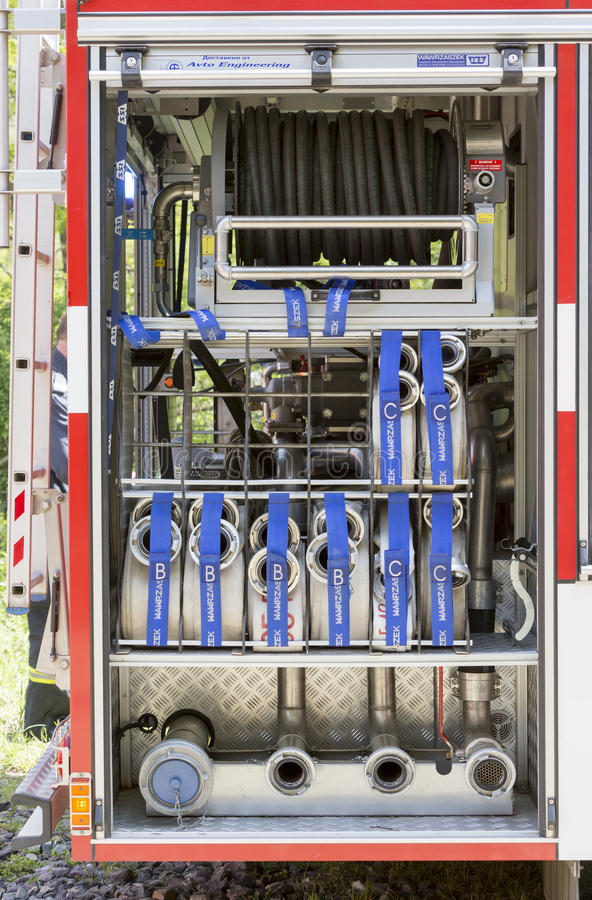 Fire truck hoses. Sofia, Bulgaria - May 19, 2015: Hoses in fire truck are seen while teams from Fire department are participating in an emergency training with royalty free stock image