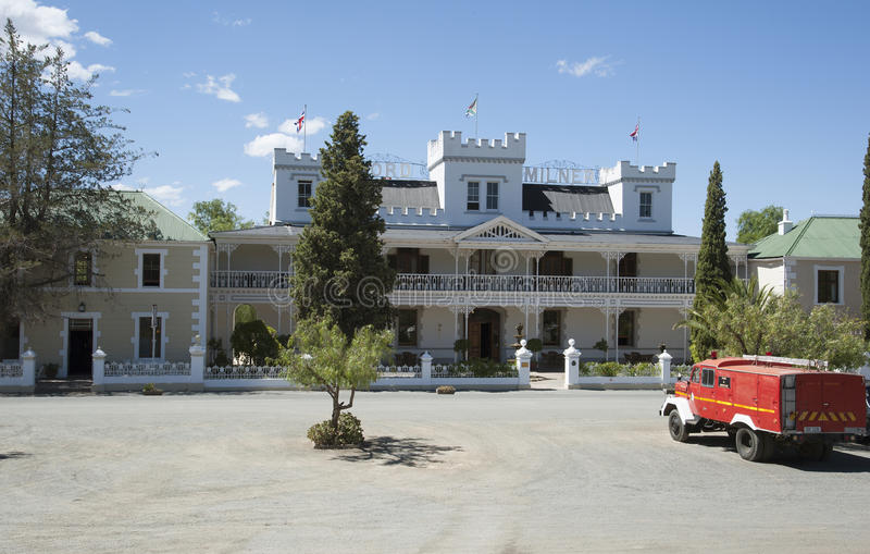 Fire truck and hotel in Matjiesfontein South Africa. Matjiesfontein in the Central Karoo region of the Western cape South Africa. Fire truck waiting outside the stock photo
