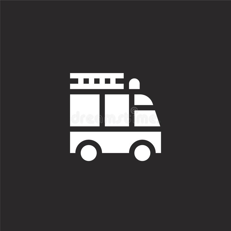 Fire truck icon. Filled fire truck icon for website design and mobile, app development. fire truck icon from filled emergency. Services collection isolated on stock illustration