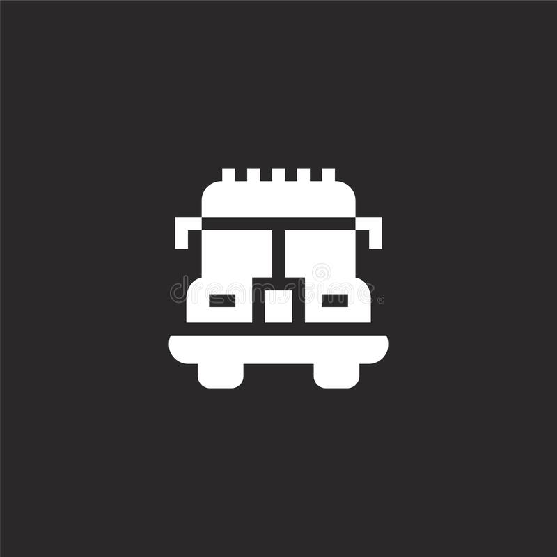Fire truck icon. Filled fire truck icon for website design and mobile, app development. fire truck icon from filled transportation. Collection isolated on black vector illustration