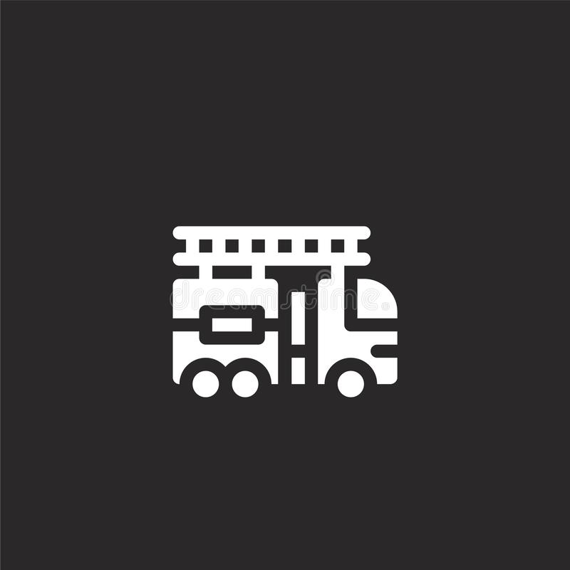 Fire truck icon. Filled fire truck icon for website design and mobile, app development. fire truck icon from filled transport. Collection isolated on black stock illustration