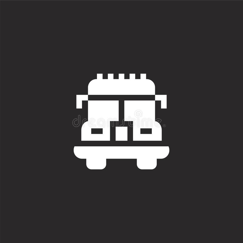 Fire truck icon. Filled fire truck icon for website design and mobile, app development. fire truck icon from filled transportation. Collection isolated on black stock illustration