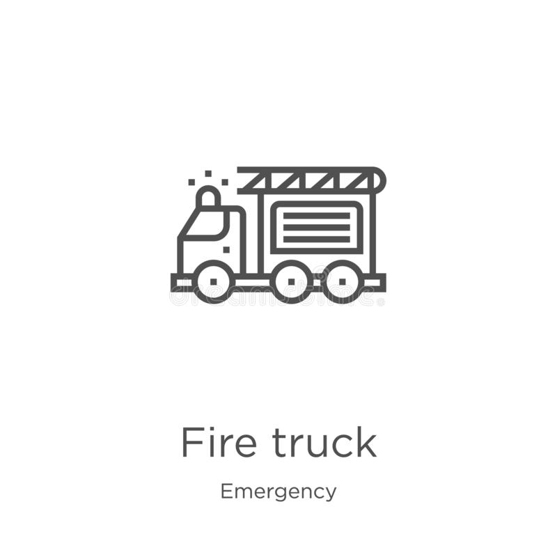 fire truck icon vector from emergency collection. Thin line fire truck outline icon vector illustration. Outline, thin line fire stock illustration