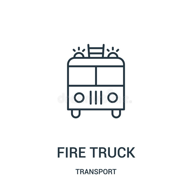 Fire truck icon vector from transport collection. Thin line fire truck outline icon vector illustration. Linear symbol for use on web and mobile apps, logo stock illustration