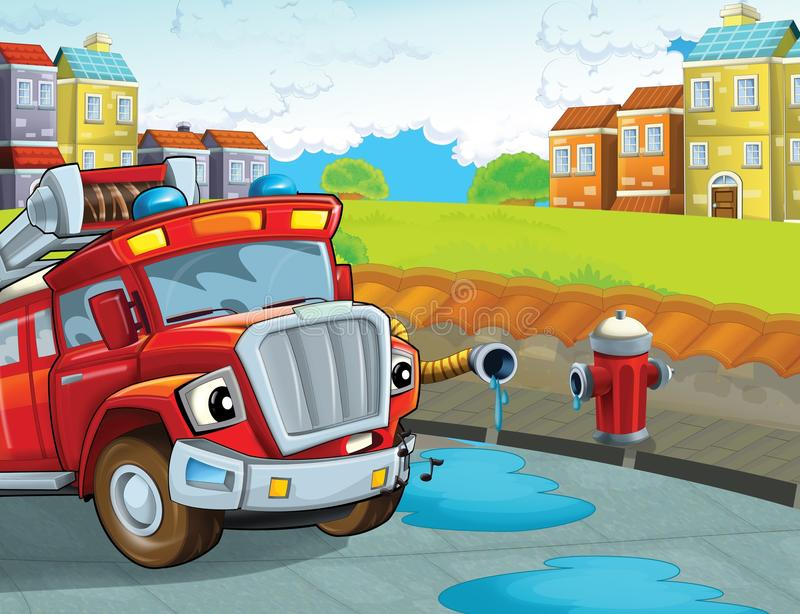The fire truck - illustration for the children. The happy and colorful illustration for the children royalty free illustration