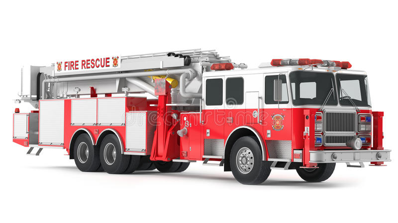 Fire truck isolated. At the white background stock images