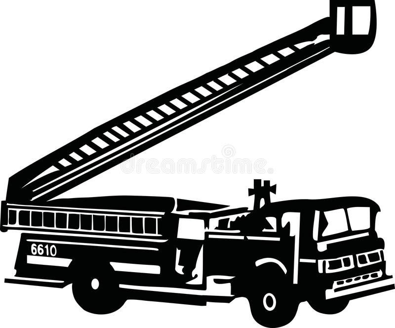 Fire truck with ladder. Vector royalty free illustration