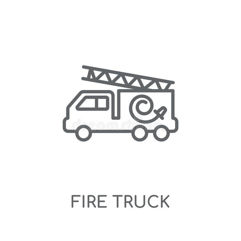 Fire truck linear icon. Modern outline Fire truck logo concept o stock illustration