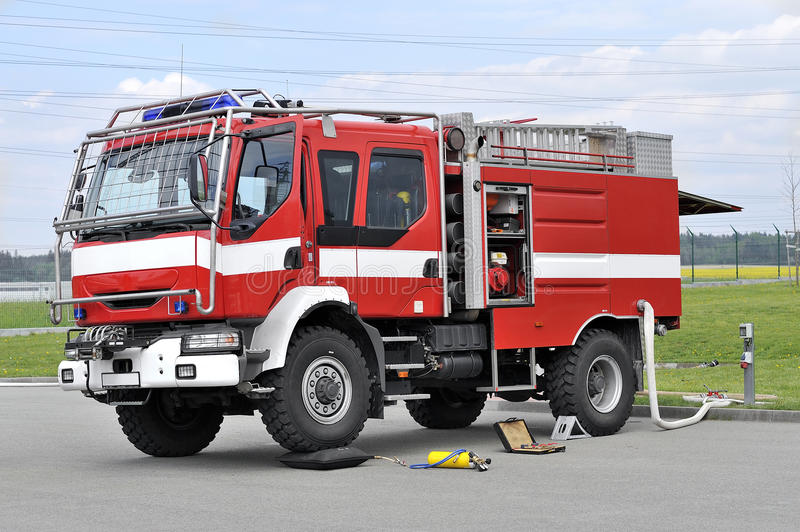 Fire truck. Off-road red Fire truck royalty free stock image