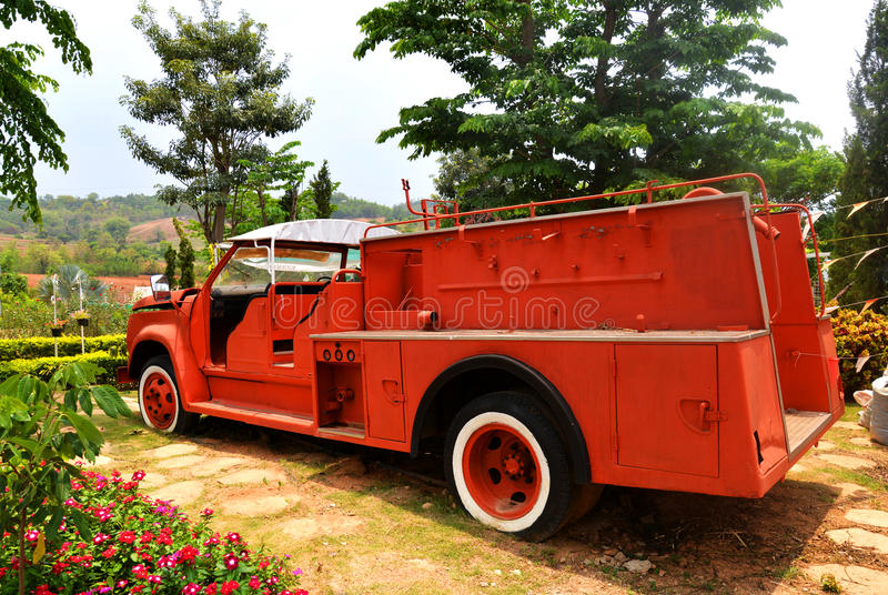 Fire truck Old. Orange fire truck Old fire department engine stock photography