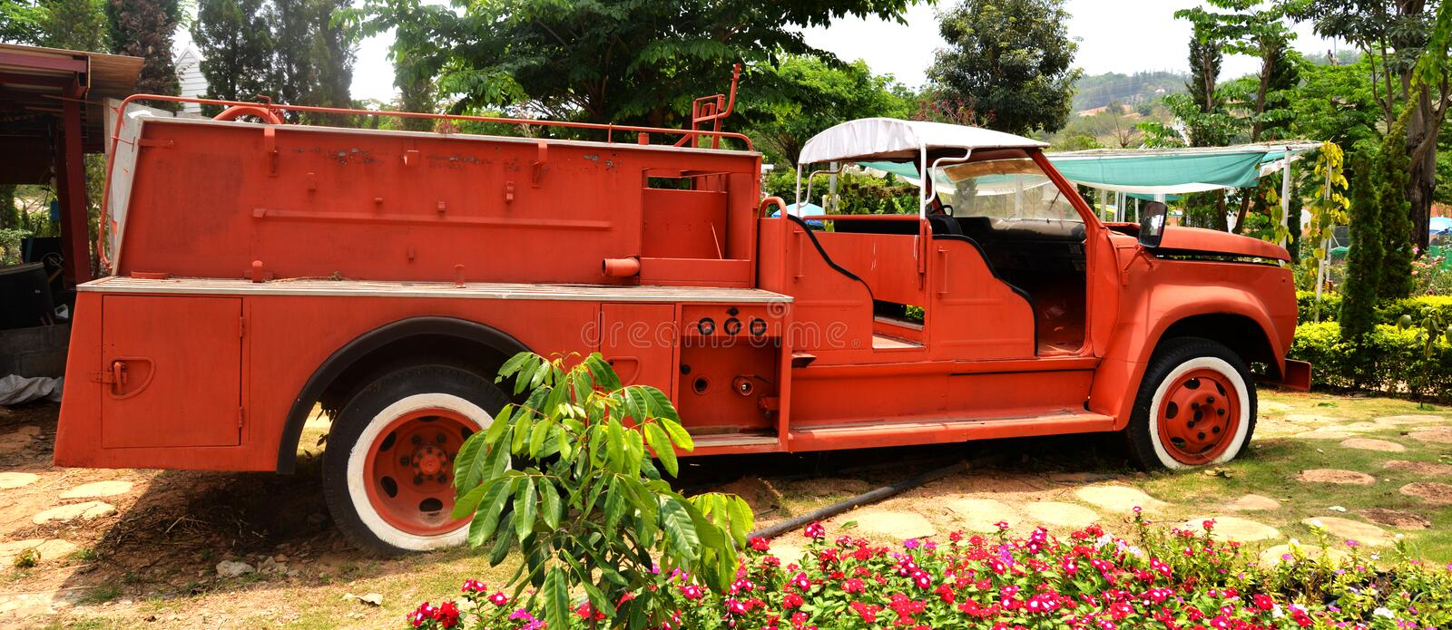 Fire truck Old. Orange fire truck Old fire department engine stock photo