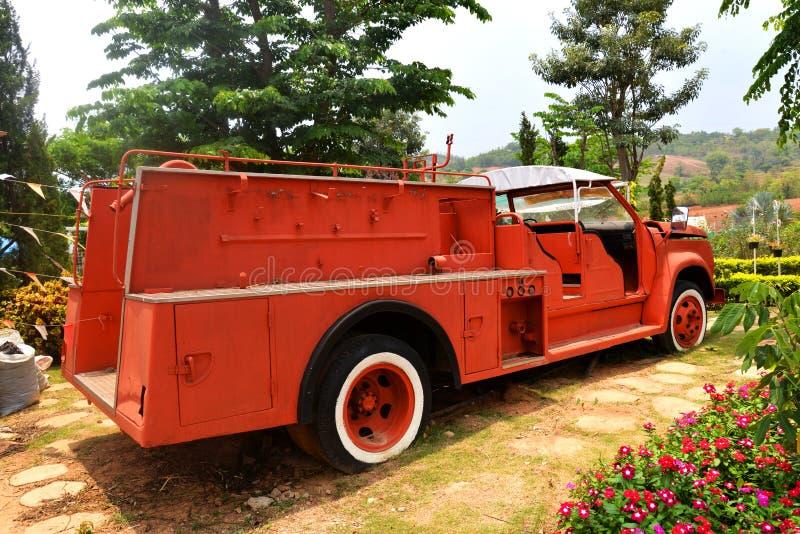 Fire truck. Orange fire truck Old fire department engine stock photo
