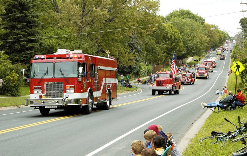 Fire Truck Parade 6. Fire and rescue vehicles being driven in a fire muster parade stock photography