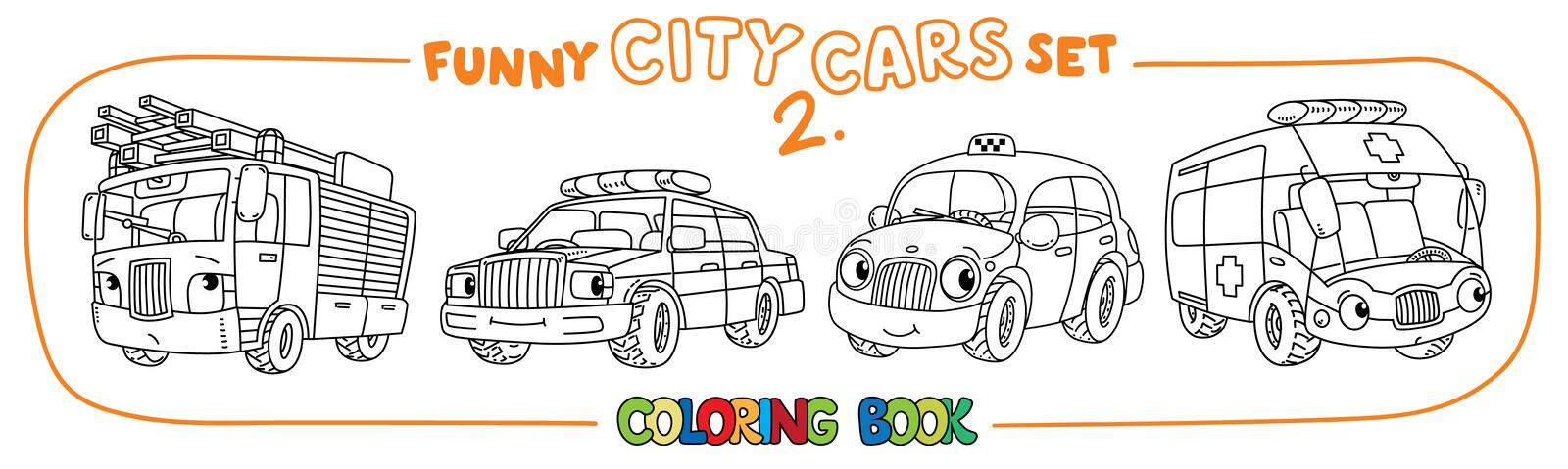 Download Funny Small Cars With Eyes Coloring Book Set Stock Vector