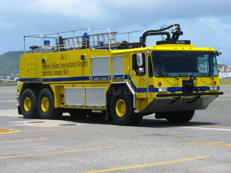 Fire truck in Princess Juliana Airport, St. Maarten royalty free stock photography