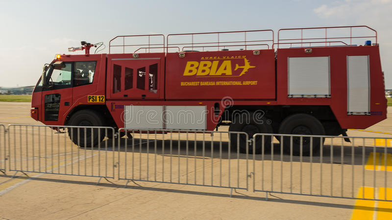 Fire Truck. (PSI 12) speeding on the track - Bucharest International Air Show 2013 royalty free stock photos