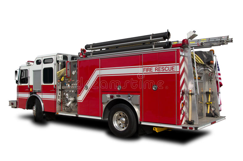 Fire Truck. Red Fire Truck isolated on White stock photography