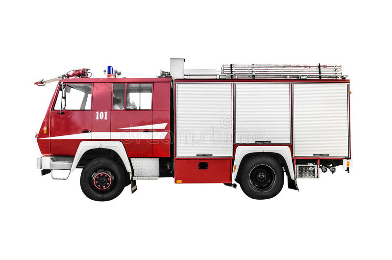 Fire truck. Red fire truck isolated on a white stock photography