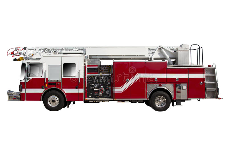 Fire Truck. Red Fire Truck isolated on White royalty free stock photography