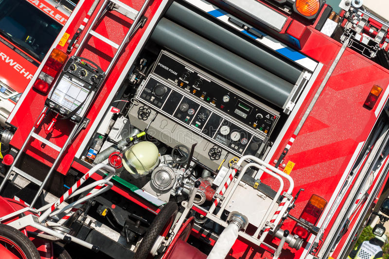Fire truck with respiratory protective devices. Back of a fire truck with respiratory protective devices, diagonal royalty free stock photo