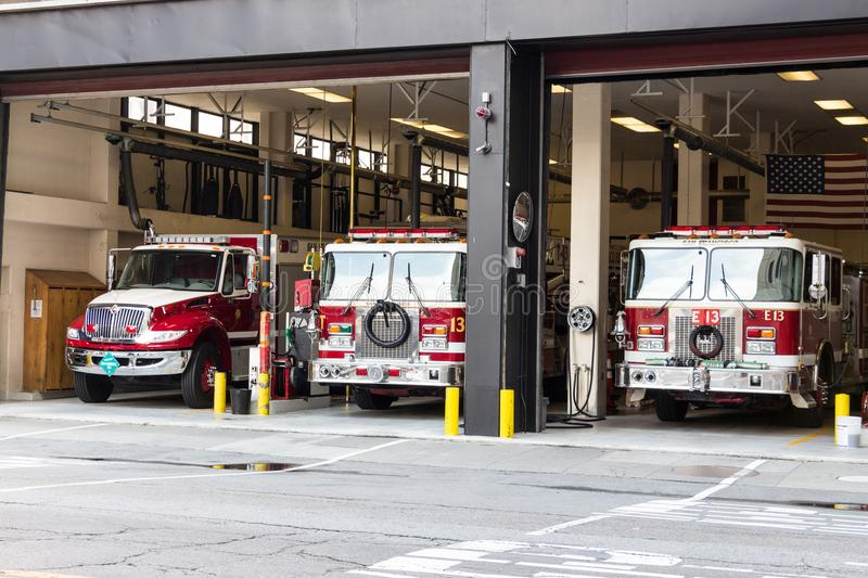 Fire truck at San Francisco firehouse. San Francisco, California, USA - September 13th, 2017: Fire trucks parked at the San Francisco Fire Department royalty free stock photography