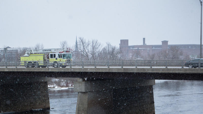 Fire truck in snowing day stock image