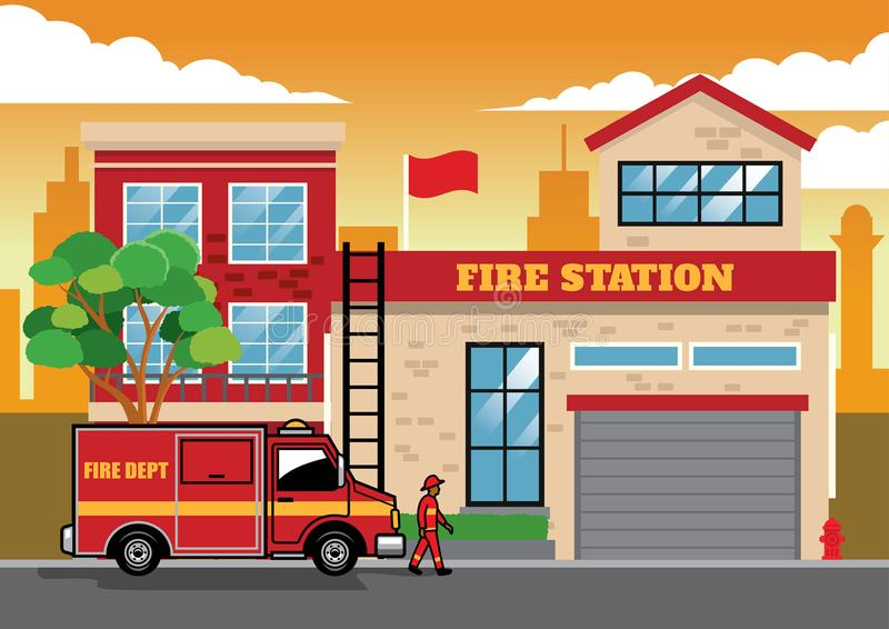 Fire truck in fire station. Vector of fire truck in fire station royalty free illustration