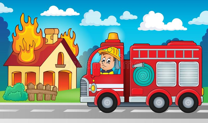 Fire truck theme image 5 stock illustration