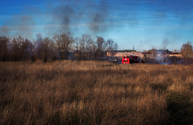 Fire truck to put out a forest fire. firefighters to extinguish royalty free stock images