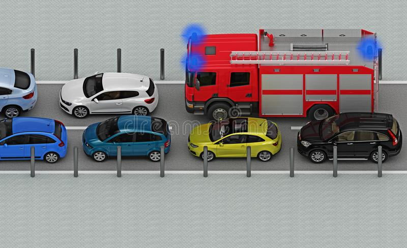 Fire truck is in traffic jam. Above view. 3d rendering stock illustration