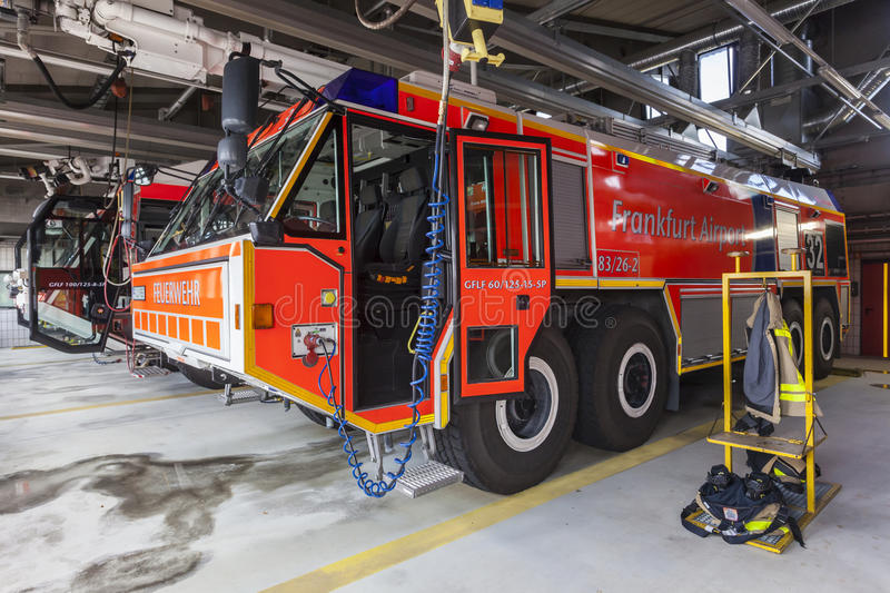 Fire Trucks at the Airport. FRANKFURT, GERMANY - JULY 24, 2016: Modern fire trucks at the airport Fire Department in Frankfurt Main International Airport stock images
