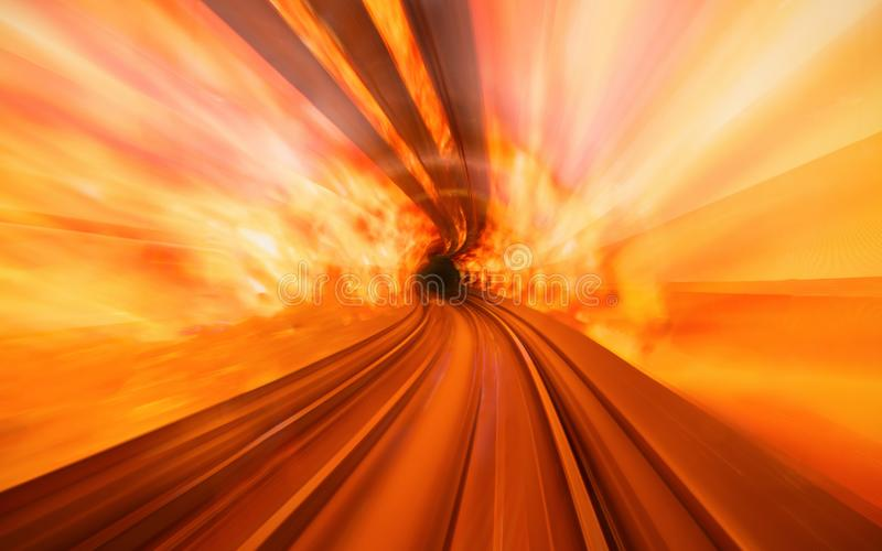 Fire tunnel in Bund Sightseeing Tunnel. Metro subway train in Shanghai City, China. Tunnel of lights under Huangpu River is one of royalty free stock photo
