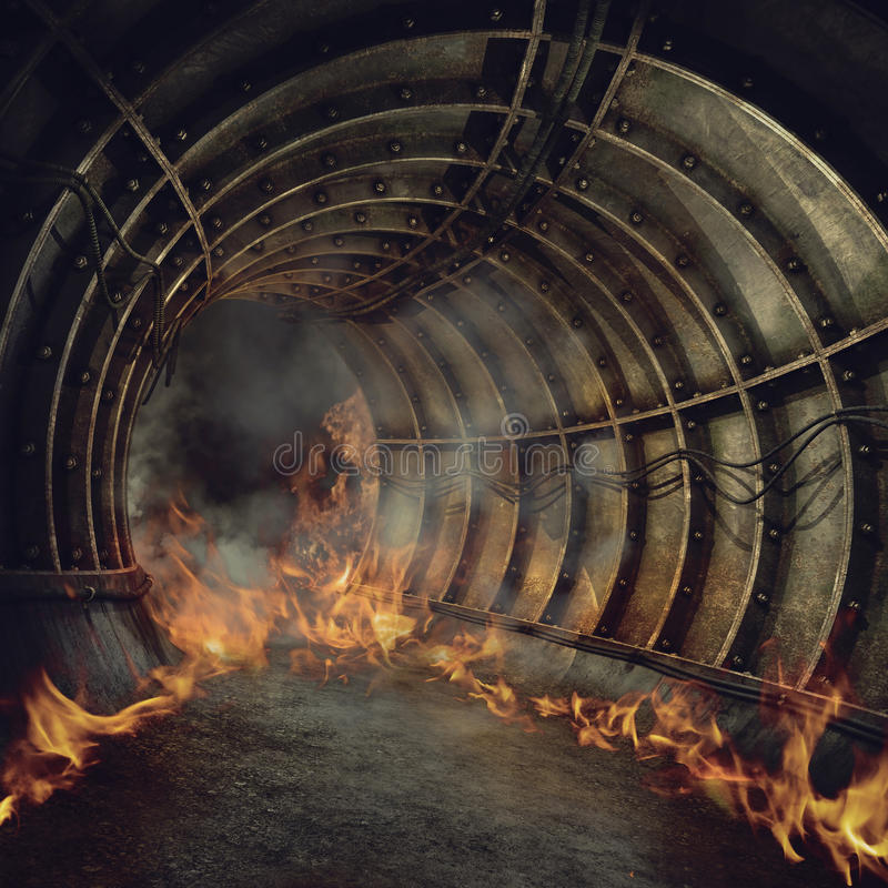 Fire in a tunnel stock illustration