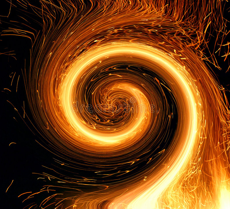 Fire twirl stock photography